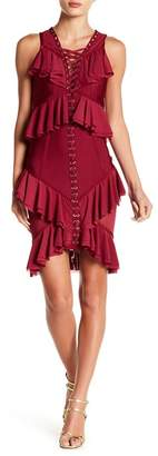 Wow Couture Lace-Up Ruffle Detail Dress