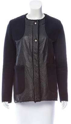 Hache Leather-Trimmed Wool Jacket