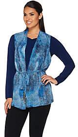 Susan Graver Printed Sheer Chiffon Vest andLiquid Knit Top