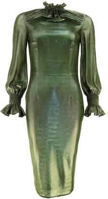 Juliana Herc Metallic Green Dress with Balloon Sleeve