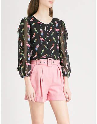 Claudie Pierlot Balloon-sleeve printed chiffon blouse