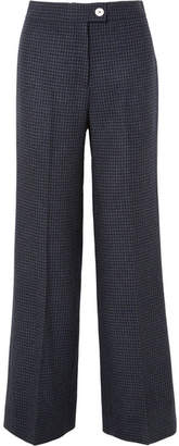 ALEXACHUNG Houndstooth Wool-blend Felt Wide-leg Pants - Navy