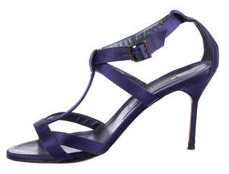 Manolo Blahnik Satin T-Strap Sandals Purple Satin T-Strap Sandals