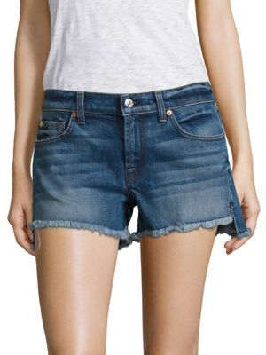 7 For All Mankind Cut-Off Step Hem Denim Shorts $159 thestylecure.com