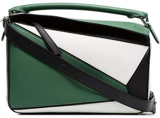 Loewe green, white and black puzzle leather shoulder bag