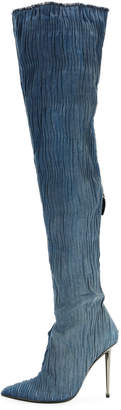 Tom Ford Pleated Over-The-Knee Denim Boot