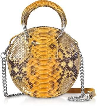Ghibli Saffron Yellow Python Round Crossbody Bag w/Metal Handles