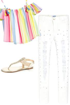 Mayoral White Ripped/studded Jean
