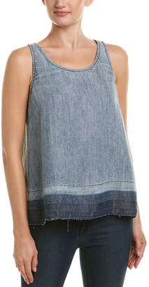 Michael Stars Frayed Released Hem Linen-Blend Tank
