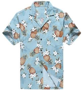 Hawaii Hangover Made in Hawaii Men's Hawaiian Shirt Aloha Shirt Golden Pineapple in Vintage Blue