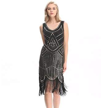 Co Pilot-trade clothing trade Pilot-trade Women's Vintage 1920s gatsby Look Flapper Swing Fringe Cocktail Party Dress XL