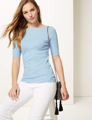 Marks and Spencer Pure Cotton Slash Neck Half Sleeve T-Shirt