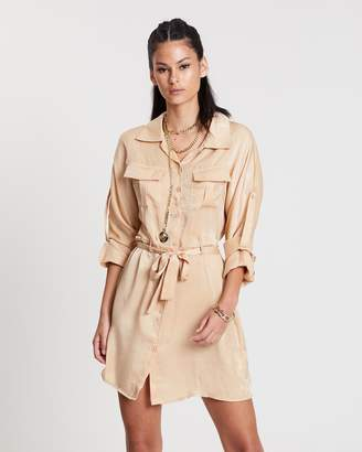 Missguided Satin Tie Waist Utility Shirt Dress