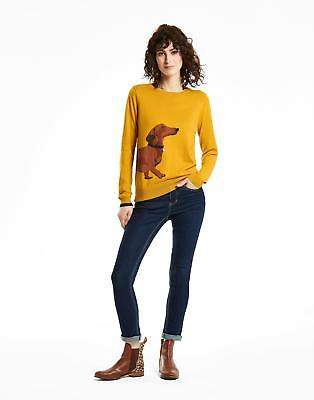 Joules Miranda Intarsia Jumper in Antique Gold Dachshund