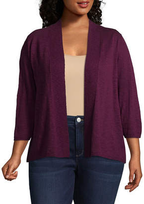 ST. JOHN'S BAY 3/4 Sleeve Slub Cardigan - Plus