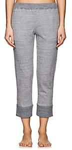 Castle & Hammock Women's Mélange Cotton Crop Pants-Blue