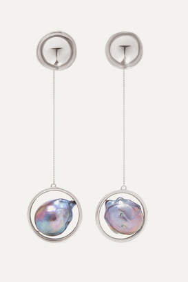 Closer By Wwake - Silver Pearl Earrings - one size