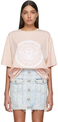 Balmain Pink Flocked Medallion T-Shirt