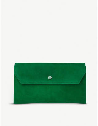 LK Bennett Green Mint Leaf Dora Suede Clutch Bag