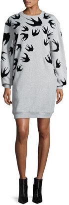McQ Alexander McQueen Classic Swallow-Print Sweat Dress, Mercury Melange $360 thestylecure.com