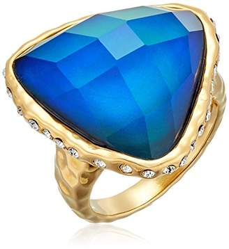 Color Changing 18k Gold Plated Bronze Thermochromic Liquid Crystal and Czech Crystal Mood Ring