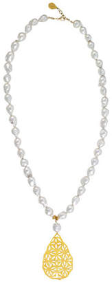 Devon Leigh Pearl Filigree Pendant Necklace