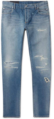 Balmain Skinny-Fit Distressed Denim Jeans - Men - Blue