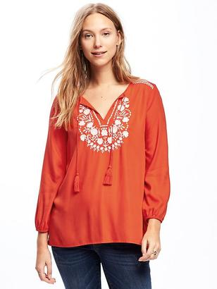 Relaxed Embroidered-Yoke Tunic for Women $32.94 thestylecure.com
