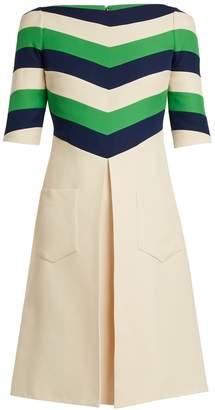 Gucci Chevron-striped wool-blend dress