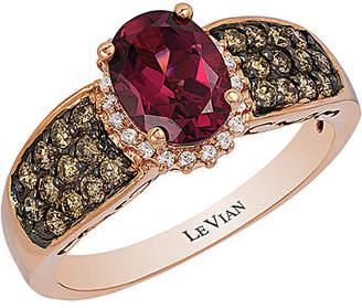 LeVian Le Vian Chocolatier 14K Rose Gold 1.97 Ct. Tw. White & Brown Diamond & Rhodolite Ring
