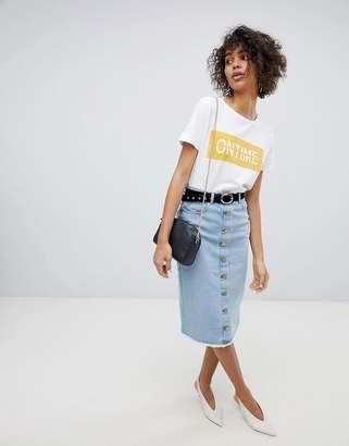 Neon Rose Button Front Midi Skirt In Denim