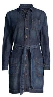 Polo Ralph Lauren Women's Casual A-Line Tie-Waist Denim Shirt Dress - Dark Indigo - Size 0
