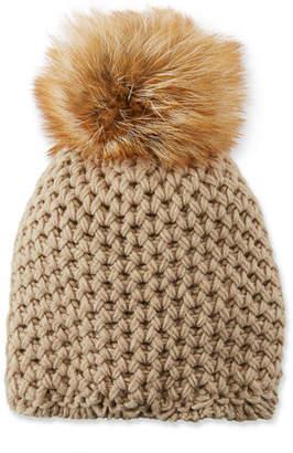 Inverni Cashmere Beanie Hat w/ Fur Pompom