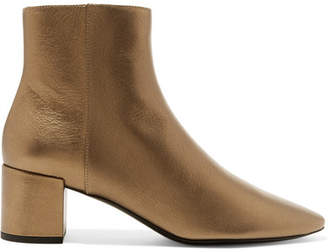 Saint Laurent Loulou Metallic Textured-leather Ankle Boots