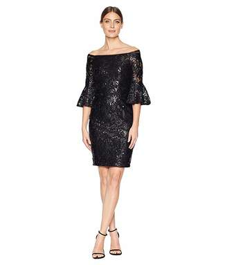 Adrianna Papell Sequin Off Shoulder Sheath