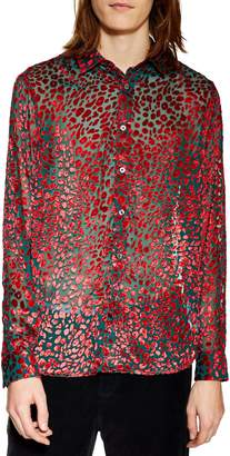 Topman Slim Fit Leopard Floral Print Shirt