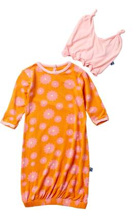 Kickee Pants Print Layette Gown & Ruffle Knot Hat Set in Sunset Water Lily (Baby Girls)