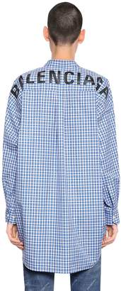 Balenciaga Logo Printed Check Cotton Poplin Shirt