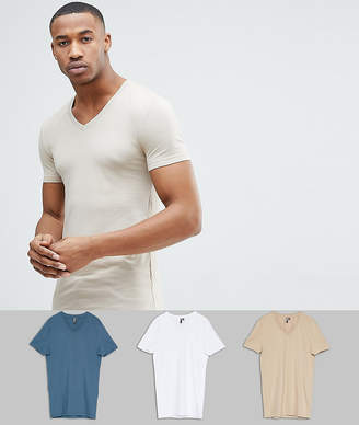 Asos DESIGN muscle fit t-shirt with v neck 3 pack SAVE