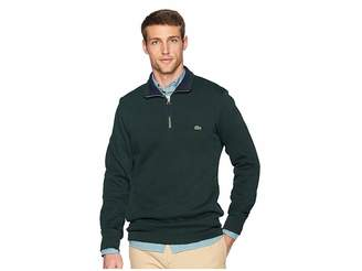 Lacoste Long Sleeve Semi Fancy Front Zip w/ Rib Knit Detail