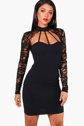 boohoo Lace Scallop Detail Bodycon Dress