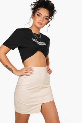 boohoo PU Stepped Hem Mini Skirt