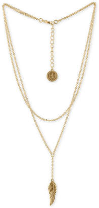"Rachel Roy Gold-Tone Double-Row Leaf Pendant Necklace, 15"" + 2"" extender"