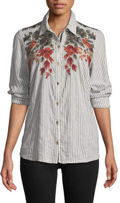 Johnny Was Ferris Floral-Embroidered Striped Shirt