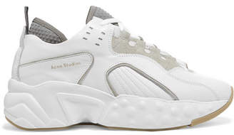 Acne Studios Manhattan Leather, Suede And Mesh Sneakers - White