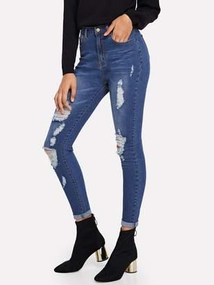 Shein Dark Wash Destroyed Jeans