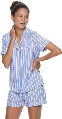 Peace Love & Fashion Juniors' Peace, Love & Fashion Printed Shirt & Boxer Sleep Shorts Pajama Set