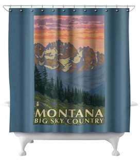 Montana - Big Sky Country - Spring Flowers - Lantern Press Artwork (71x74 Polyester Shower Curtain)