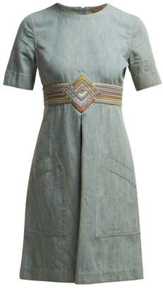Bottega Veneta Contrast Panel Denim Dress - Womens - Light Blue