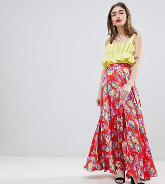 Asos DESIGN Petite satin maxi skirt with center front split in floral print